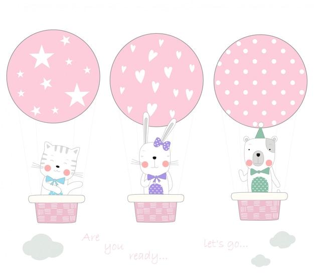 Het schattige baby-dier met luchtballon