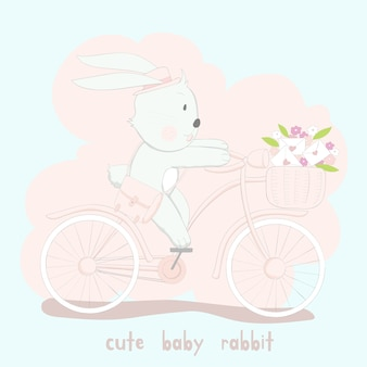 Het schattige babykonijn op roze fiets