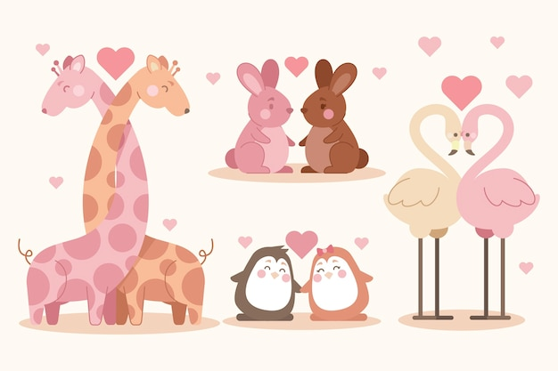 Het schattige dierlijke paar van de valentijnskaartendag