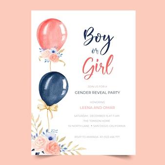 Het schattige geslacht openbaart de uitnodiging van de partij met illustratie van de waterverf de bloemenballon