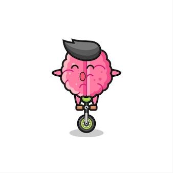 Het schattige hersenpersonage rijdt op een circusfiets, schattig stijlontwerp voor t-shirt, sticker, logo-element