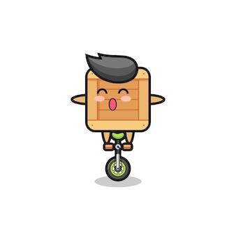 Het schattige houten kistkarakter rijdt op een circusfiets, schattig stijlontwerp voor t-shirt, sticker, logo-element