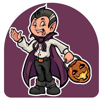 Het schattige karakter van halloween in dracula-kostuum