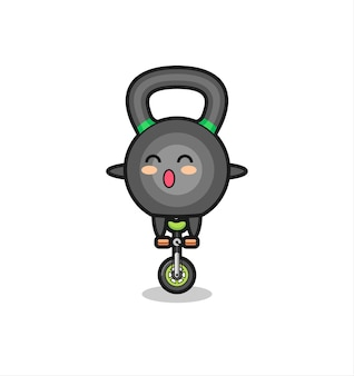 Het schattige kettleball-personage rijdt op een circusfiets, schattig stijlontwerp voor t-shirt, sticker, logo-element