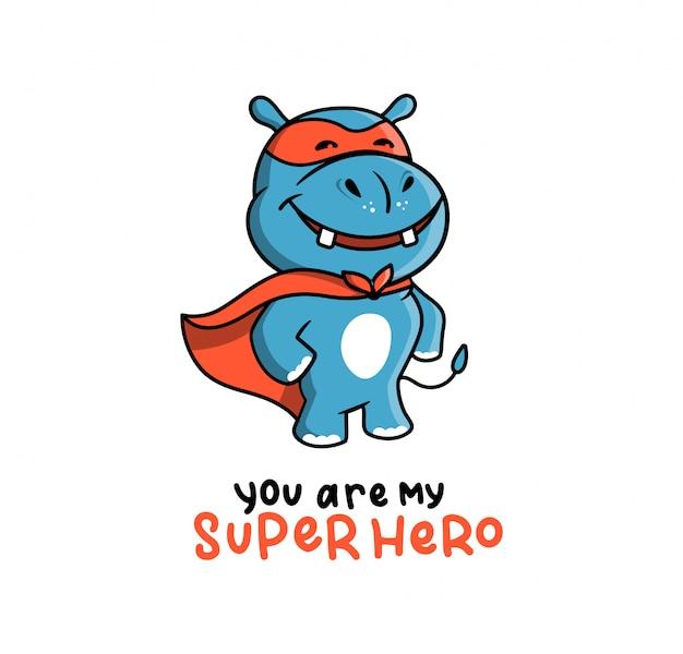 Het schattige logo van een nijlpaard in een superheld-kostuum