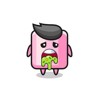 Het schattige marshmallow-personage met kots, schattig stijlontwerp voor t-shirt, sticker, logo-element