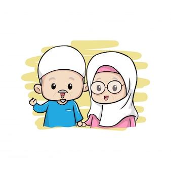 Het schattige moslim oude paar