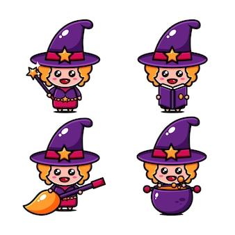 Het schattige ontwerp van het kleine heksenkarakter had de wereld van de heks als thema