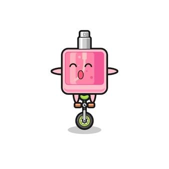 Het schattige parfumkarakter rijdt op een circusfiets, schattig stijlontwerp voor t-shirt, sticker, logo-element