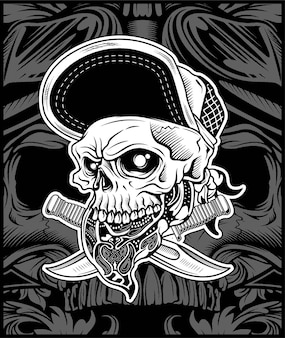 Het schedelhoofd draagt bandana en hoed