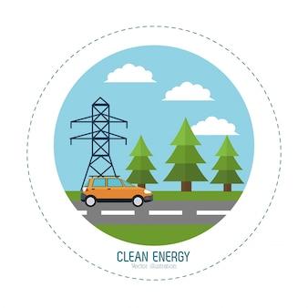 Het schone landschap van de de weg elektrische toren van de energieauto