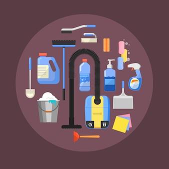 Het schoonmaken van pictogrammensamenstelling op cirkel