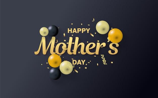 Het schrijven moederdag in goud en met ballonnen op een zwarte achtergrond.