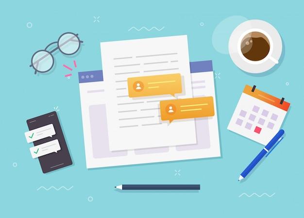 Het schrijven van inhoud papieren document online op de website