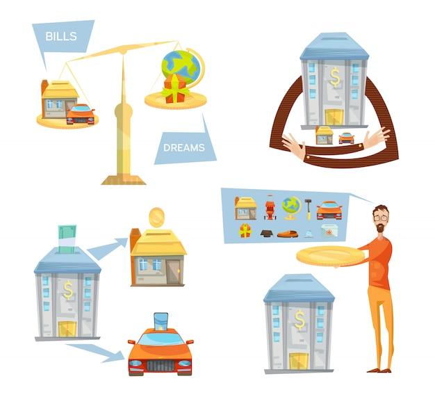 Het schuldconcept met geïsoleerde conceptuele beelden van schalen bankwezenhuispictogrammen dacht bellen en mannetje