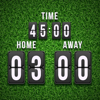 Het scorebord van het voetbalvoetbal op grasachtergrond