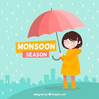 Het seizoenachtergrond van de moesson met meisje