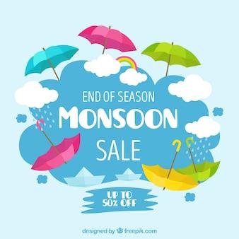 Het seizoenachtergrond van de moessonverkoop met kleurrijke paraplu's