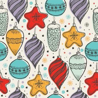 Het seizoenpatroon van de kerstmiskleur met hand getrokken speelgoed