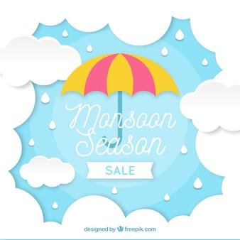 Het seizoensamenstelling van de moesson met origamistijl