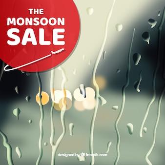 Het seizoenverkoop van de moesson met vage achtergrond