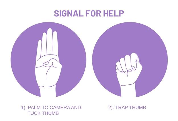 Het signaal voor hulp, een hulpmiddel dat sommige mensen kan helpen die niet de mogelijkheid hebben om videogesprekken te voeren.