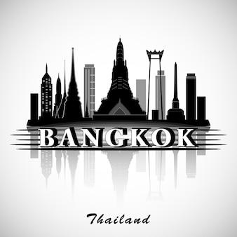 Het silhouet van bangkok, thailand. skyline van de stad.