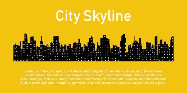 Het silhouet van de stad in een vlakke stijl.