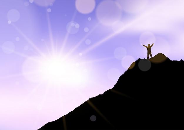 Het silhouet van een mannetje bevond zich met wapens die op klippenrand tegen zonsonderganghemel worden opgeheven