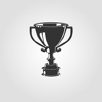 Het silhouet van winnaar cup. silhouet figuur. sporttrofee, een prijs voor de winnaar. illustratie.