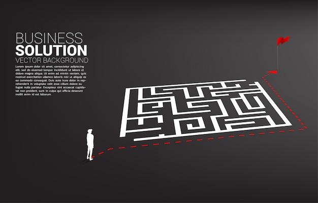 Het silhouet van zakenman met routepad gaat rond het doolhof naar doel.