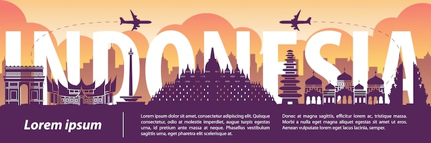 Het silhouetstijl van indonesië beroemde oriëntatiepunt