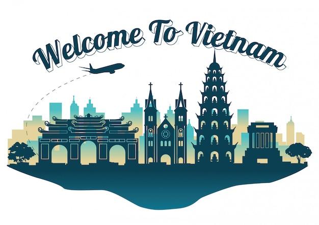 Het silhouetstijl van vietnam hoogste beroemde oriëntatiepunt op eiland, reis en toerisme