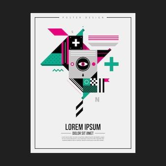 Het sjabloon van het ontwerpontwerp met abstract geometrisch schepsel. nuttig voor reclame.