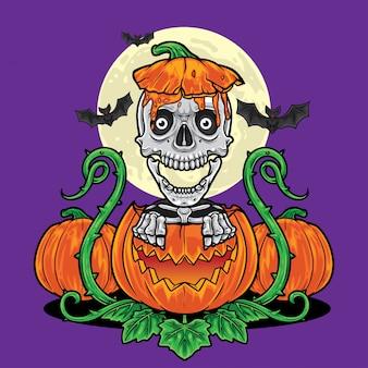 Het skelet dat van halloween uit pompoenachtergrond komt