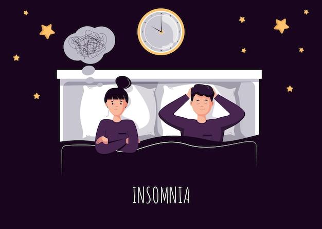 Het slaperige personage probeert te slapen. vermoeide vrouw lijdt aan slaapstoornissen, slapeloosheid, nachtmerrie