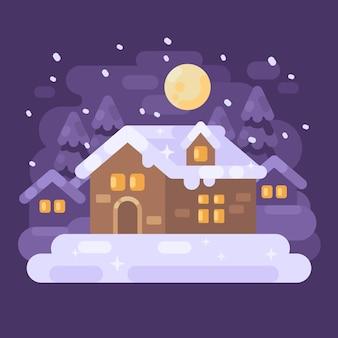 Het sneeuw purpere landschap van het de winterdorp met een huis