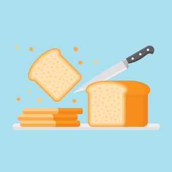 Het snijden van toast brood met mes in vlakke stijl.