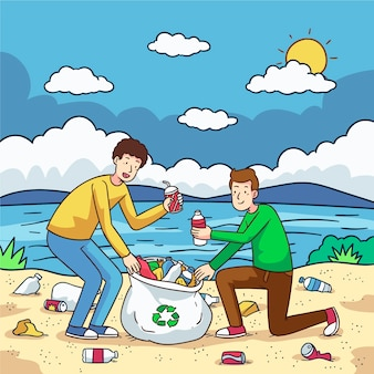 Het sociale concept van de zandliefdadigheid schoonmaken