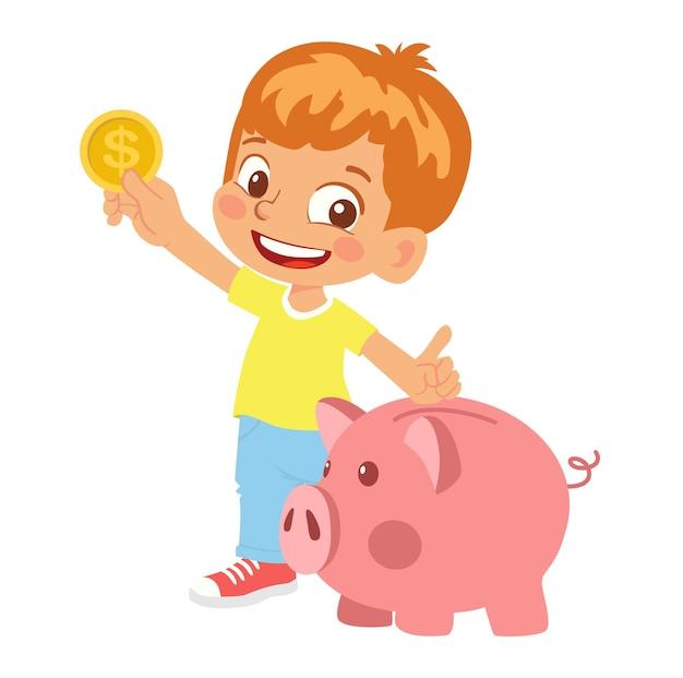 Het spaarvarken en het geld van de jongensholding