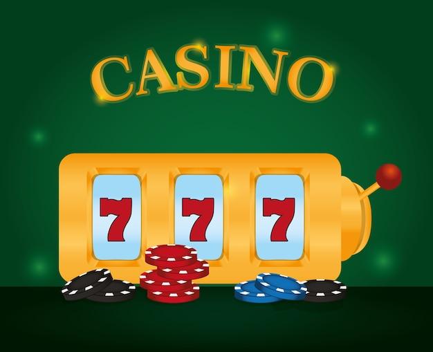 Het spel van casinosevens met grafisch ontwerp van de spaanders het vectorillustratie