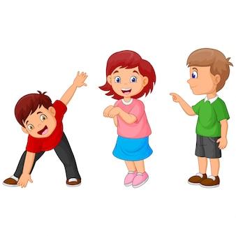 Het spel van grappige cartoon gelukkige kinderen