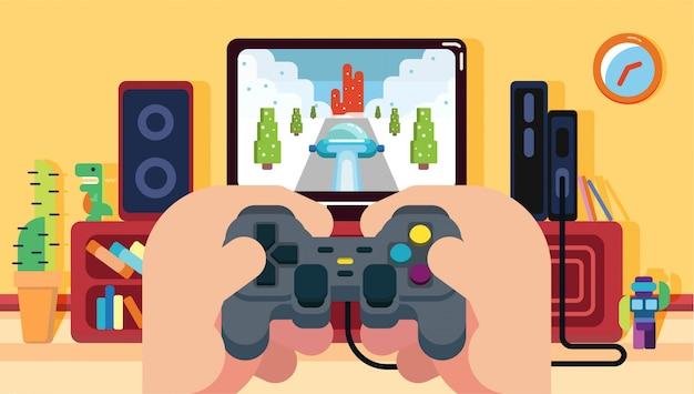 Het spelen van autoracen video game in het huis met groene dino en robot bruine kast en klok platte gele muur horizontaal