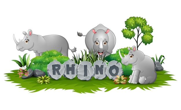 Het spelen van drie rinoceros bij tuin