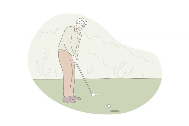 Het spelen van golf actieve rust openluchtactiviteitenconcept