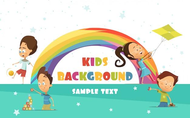 Het spelen van kinderen cartoon achtergrond met regenboog