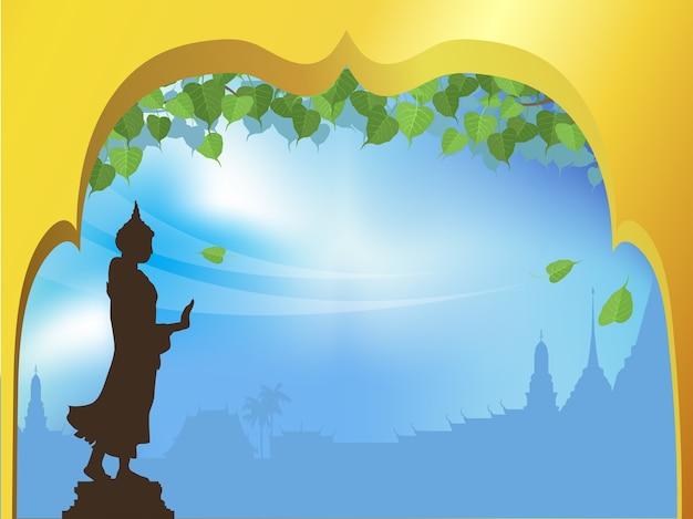Het standbeeld van boedha en bodhi-boom met gouden boogtempel van thaise traditieachtergrond.