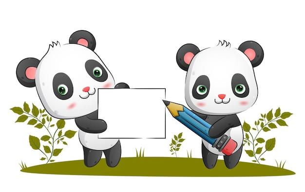 Het stel slimme panda's houdt een potlood vast terwijl ze een groot leeg bord vasthoudt in de parkillustratie holding