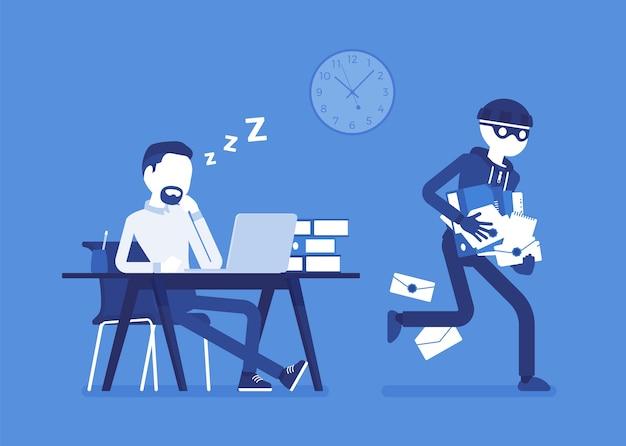 Het stelen van documentencriminaliteit in plat ontwerp