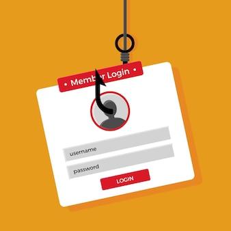 Het stelen van identiteit online phishing-concept